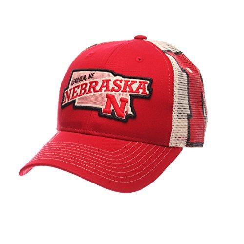 Mesh Screen Print Cap (NCAA Nebraska Cornhuskers Men's Interstate Trucker Cap, Adjustable, Red)