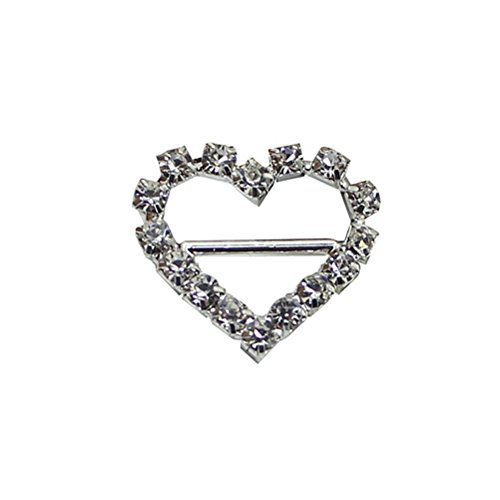 OULII Buckle Slider Diamante Heart for Craft Wedding Invitation Gift Wrap 10pcs