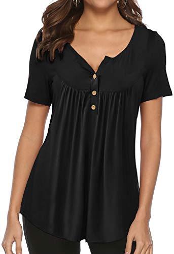 Womens Plus Size Tunics Short Sleeve Blouses Women V Neck Button Up Black XL
