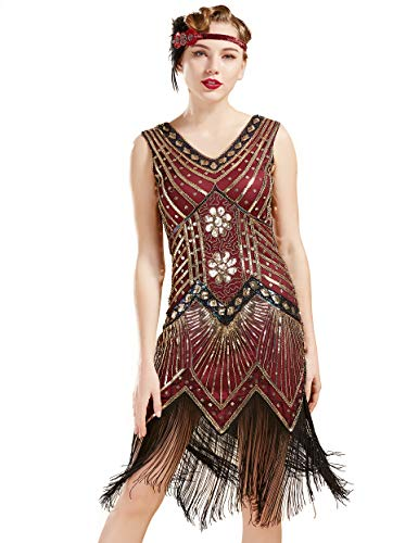 1920s Clothes For Women (BABEYOND Women's Flapper Dresses 1920s V Neck Beaded Fringed Great Gatsby Dress (Gold & Wine Red, L (Fits 29.9