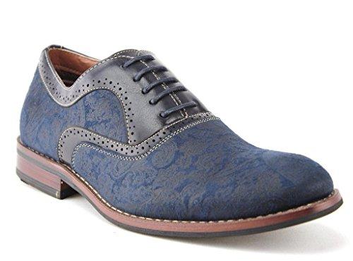 Ferro Aldo Mens 19513al Vintage Paisley Design Stringate Oxford Scarpe Eleganti Blu