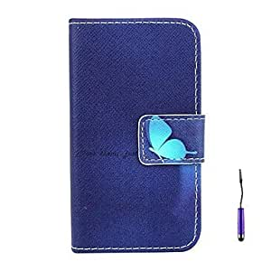 SHOUJIKE Deep Blue Butterfly Pattern PU Leather Case with A Touch Pen ,Stand and Card Holder for iPhone 4/4S