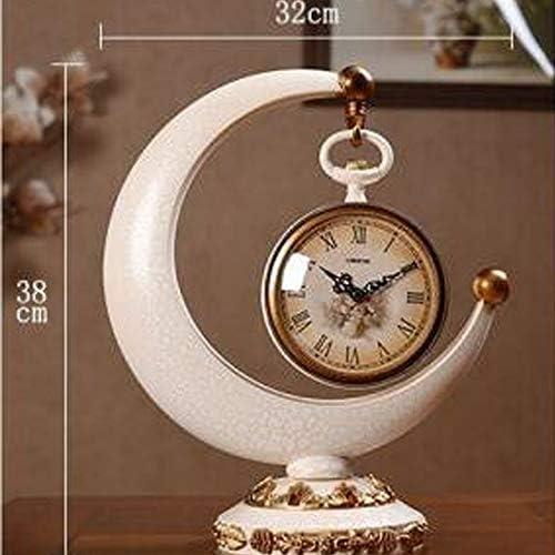 KUQIQI 時計、時計、ヨーロッパの三日月時計、個性、静か、クリエイティブリビングルーム、テレビのキャビネットの装飾、卓上時計 (Color : White)