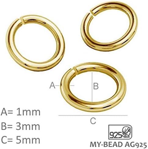 3mm Bindering My-Bead 11mm Karabinerverschluss aus 925 Sterling Silber 24K Gold doppelt vergoldet inkl
