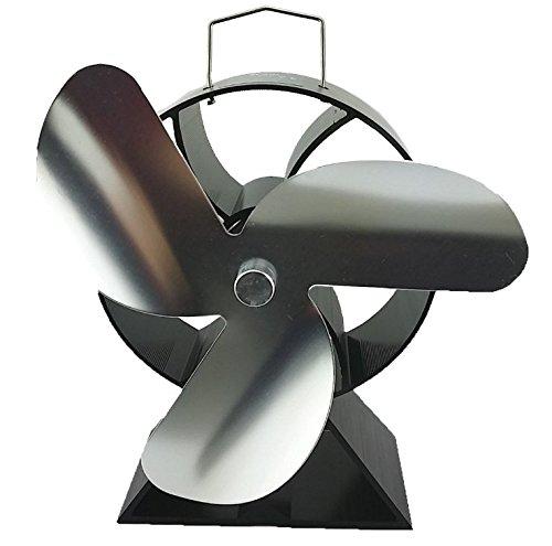 VDSA 3-Blade Round Back Heat Powered Stove Fan for Wood/Log Burner- Eco Friendly Fireplace Fan (Nickel) -