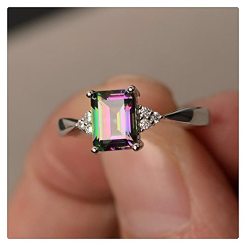 Hmlai Clearance! Women's Silver Ring Princess Cut Mystic Rainbow Engagement Diamond Rings Jewelry Gift (7)