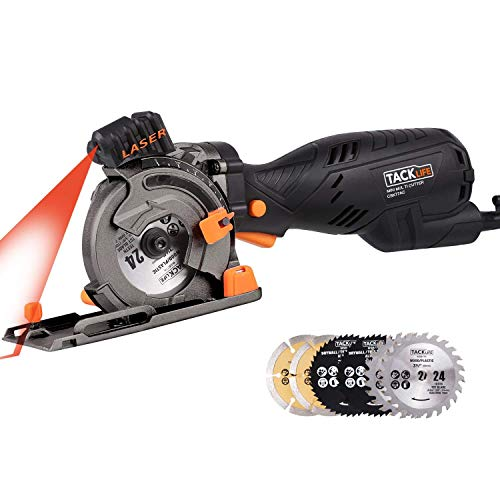 Circular Saw with Laser Guide, TACKLIFE 5.8A 705W (Equivalent 7.5A 900W) Compact Circular Saw with 6 Blades, Cutting Wood / Plastic / Metal / Tile / Masonry, Double Safety Design and Depth 0~28.5mm