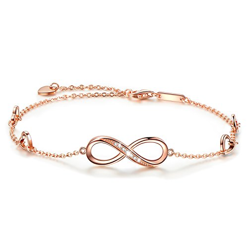 OneSight Infinity Ankle Bracelet for Women, 925 Sterling Silver Charm Adjustable Anklet, Large Bracelet (Rose-Gold-Plated-Sterling-Silver)