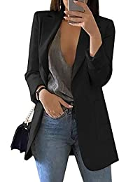 Lrady Women's Long Sleeve Solid Color Turn-Down Collar Coat Ladies Business Suit Cardigan Jacket Suit Blazer Tops