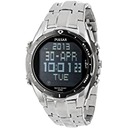 Pulsar Men's PQ2001 Silver-Tone Digital Stainless Steel Watch with Link Bracelet