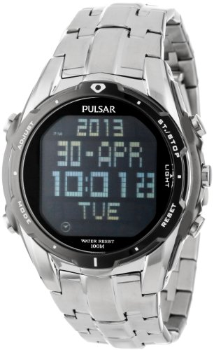 Pulsar Water Resistant Wrist Watch (Pulsar Men's PQ2001 Silver-Tone Digital Stainless Steel Watch with Link Bracelet)