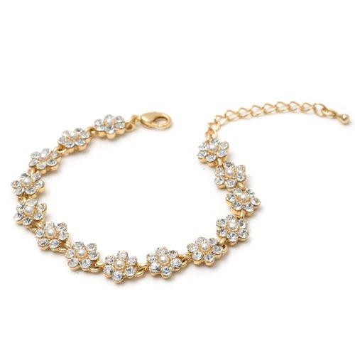 Gold Crystal Rhinestone Flower Shape with Cream Pearl Link Bracelet (Gold Flower Link)