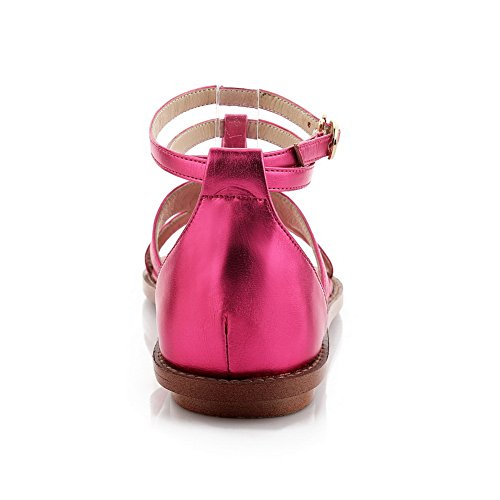 1TO9 Ladies Split-Toe T Strap Buckle Sheepskin Sandals RoseRed uEhUf