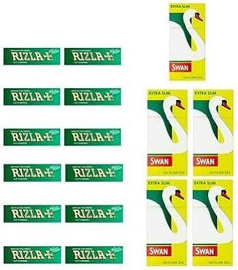 600 X Rizla Grün Regulär Roll Papiere /& Swan Extra Slim Filterspitzen Smoking