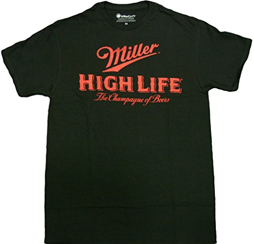 Hybrid Men's Miller High Life Short Sleeve T-Shirt, Black, X-Large ()