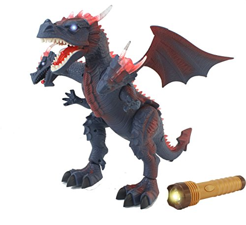 The New World Of Dinosaurs Battery Operated Remote Control Toy RC Three Headed Dragon w/ Lights, Sounds, Walking/Wing/Mouth Action, & Flashlight Remote Contro (Control Dragon)