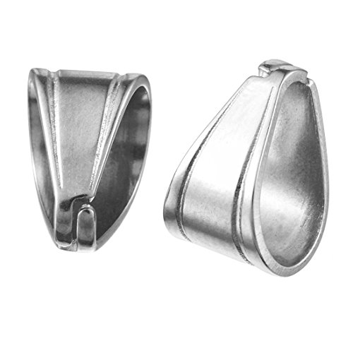 Souarts 20 Pcs Silver Color Stainless Steel Pinch Clip Bail Clasp Dangle Charm Bead Pendant Connector Findings 11mmx9mm for Jewelry Making