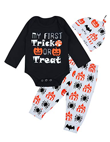 Halloween Baby Outfits Boy Girl My First Halloween Romper + Pumpkin Pants Clothes Sets 0-3 Months -