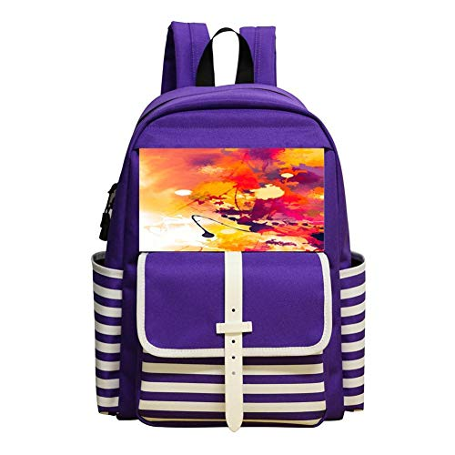 Inkjet Watercolor Children Backpack For School Travel Backpack Of Purple -