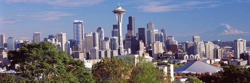 Walls 360 Peel & Stick City Skyline Wall Mural: Seattle Viewed from Queen Anne Hill (36 in x 12 in)