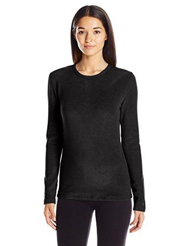 Cuddl Duds Women's Fleecewear with Stretch Crew Neck, Black, Large