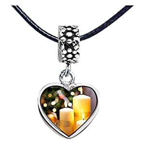 Chicforest Silver Plated Christmas candles Photo Flower Head Dangle Heart Charm Beads Fits Pandora Charm Bracelet