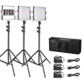 Neewer 3 Packs Dimmable Bi-Color 480 LED Video Light and Stand Lighting Kit:3200-5600K CRI 96+ LED Panel