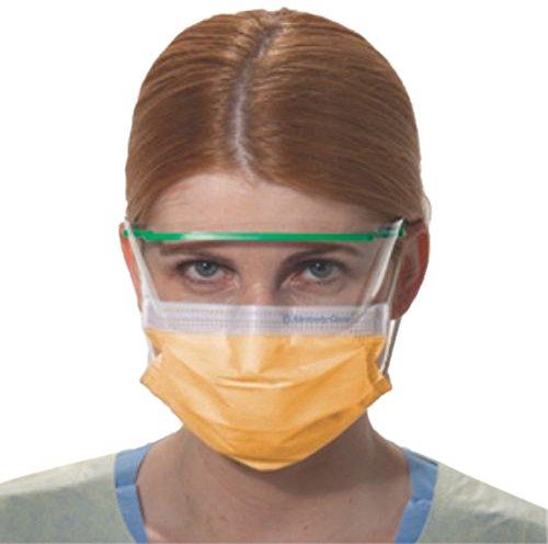 Halyard Health 28797 Fluidshield Level 3 Fog-Free Procedure Mask, Orange (10 Boxes of 40, 400 Total)