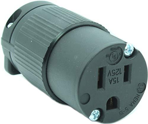 Journeyman-Pro 515CV 15 Amp 120-125 Volt, NEMA 5-15R, 2Pole 3Wire, Straight Blade, Female Plug Replacement Cord Outlet, Commercial Grade PVC Black (BLACK 1-PACK)