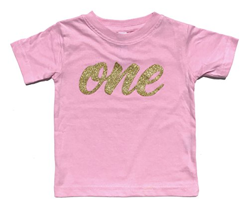 Baby Girls First Birthday T Shirt Sparkly Gold Glitter One (12M, Pink)