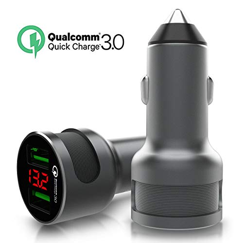 - 36W Quick Charge 3.0 Dual USB Car Charger, Fast Car Charger Adapter with LED Display Compatible for Samsung Galaxy S9 S8 S7 Edge Plus Note 9 8, iPhone XR XS Max X 8 7 6s Plus, iPad Air Mini, Nexus