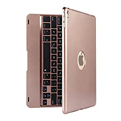 Keyboard Case, LESHP Slim Smart Folio Case Bluetooth Keyboard Case Cover with Auto Sleep / Wake for iPad Pro 9.7 and iPad Air 2(Rose Gold)