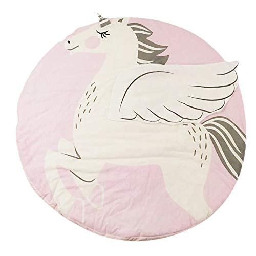 (Abreeze Play Mat Round Unicorn Crawling Blanket Infant Game Pad Play Rug Floor Carpet Baby Gym Activity Room Decor)