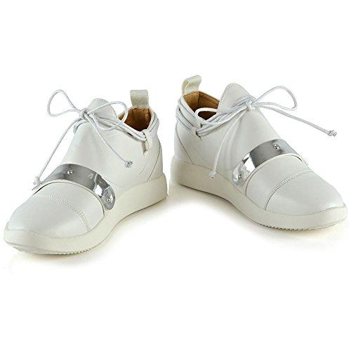Essex Glam Kvinna Mode Sneakers Damer Platt Snörning Halka På Instruktörer Skor Vit Syntetisk Läder