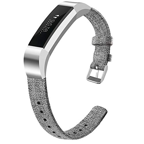 OenFoto Bands Compatible Fitbit Alta HR/Fitbit Alta/Ace, Adjustable Nylon Wristband Replacement Watch Band Strap Accessory Bracelet for Fitbit Alta HR/Fitbit Alta Smart Watch, Large Light Gray