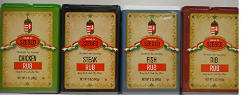 - Szeged Seasoning/Rub 5 Oz Bundle of 4 Flavors: Chicken, Fish, Steak and Rib