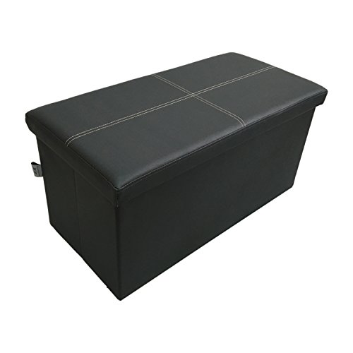 Ointime Storage Strong and Sturdy Ottoman Faux Leather Foldable Waterproof DarkGrey Footstool 30x15x15'' Easy and Quick Assembly Toy and Shoe Chest Versatile Space-Saving