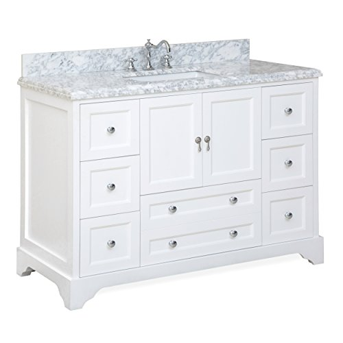 Madison 48-inch Bathroom Vanity (Carrara/White): Includes Italian Carrara Marble Top, White Cabinet with Soft Close Drawers & Doors, and Rectangular Ceramic Sink