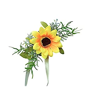 Flonding Girl Bridesmaid Wedding Wrist Corsage Bride Wrist Flower Corsages Wristband Simulation Sunflower for Wedding Prom Party Homecoming Hand Flowers Decor Pack of 4 16