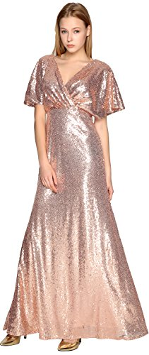 V Neck Party Gorgeous Formal Short Dress Bridesmaid Gown Gold Sleeve MACloth Wedding Sequin Aw5Sqq