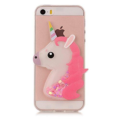 Funda iPhone 5S, Carcasa iPhone SE, Caselover 3D Bling Silicona TPU Unicornio Carcasas para iPhone 5S / SE / 5 Glitter Líquido Arena Movediza Protección Caso Sparkle Brillar Cristal Tapa Case Suave Tr Unicornio Rosa