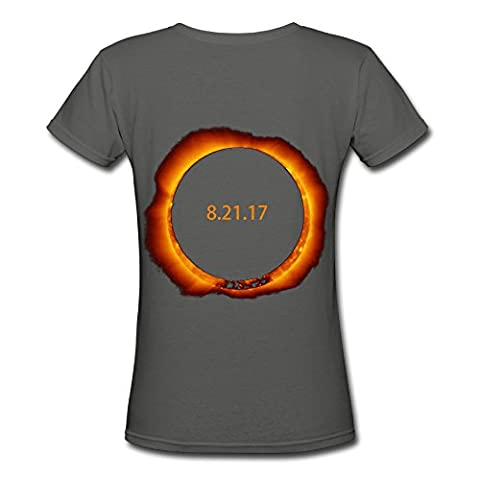 XuHaiY August 21 Solar Eclipse His-and-hers Shirts Women's Short Sleeve V-Neck Tee Tshirt (Hers And His Crewneck)