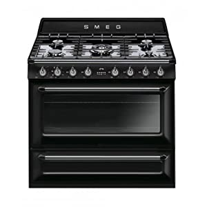 "Smeg TRU90BL 36"" Victoria Dual Fuel Range with 5 Burners 18K BTU Cooktop 4.4 cu. ft. Capacity with 8 Cooking Modes Halogen Oven Lighting Storage Drawer Electronic Clock and True European Convection in 3"