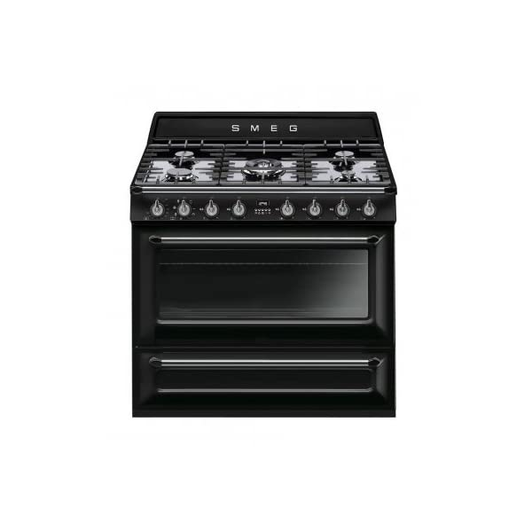 """Smeg TRU90BL 36"""" Victoria Dual Fuel Range with 5 Burners 18K BTU Cooktop 4.4 cu. ft. Capacity with 8 Cooking Modes Halogen Oven Lighting Storage Drawer Electronic Clock and True European Convection in 1"""