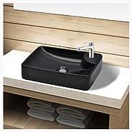 K&A Company Bathroom Sink Basin with Faucet Hole Ceramic Black