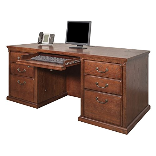 "Martin Furniture Huntington Oxford 68"" Double Pedestal Executive Computer Desk, Burnish Finish, Fully Assembled"