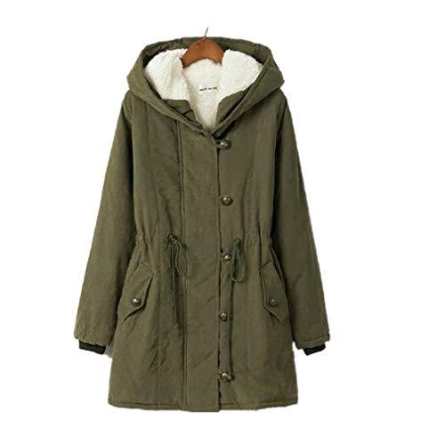 Saoye Fashion Manteau d'hiver en Coton d'hiver pour Femme avec Vtements Col en Fourrure Veste  Capuche Veste D'Extrieur Manteau d'hiver Manteau Chaud Gr1n