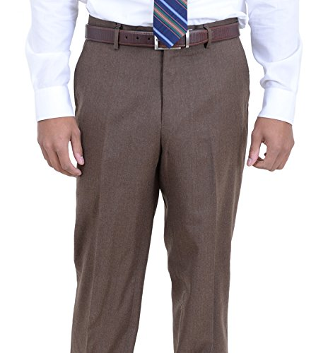 - Arthur Black Classic Fit Solid Brown Flannel Flat Front Wool Dress Pants