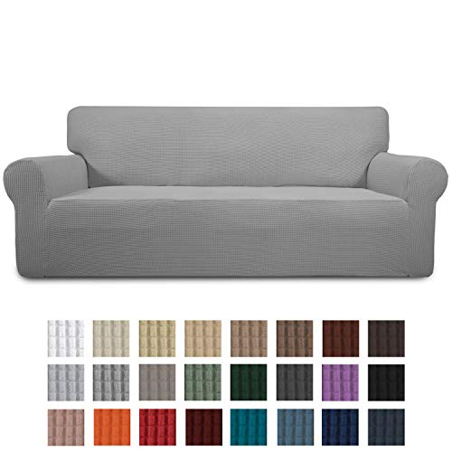 Easy-Going Stretch Sofa Slipcover 1-Piece Couch Sofa Cover Furniture Protector Soft with Elastic Bottom for Kids, Spandex Jacquard Fabric Small Checks(Sofa,Light Gray)