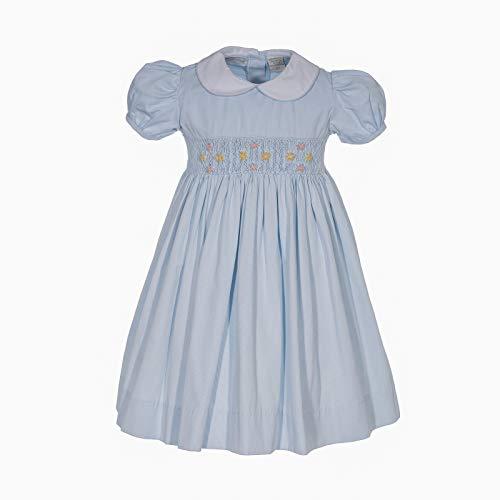 Carriage Boutique Girls Dress Blue Pique Flowers Short Sleeve Hand Smocked Dress]()